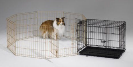 Crate training puppies with a dog exercise pen
